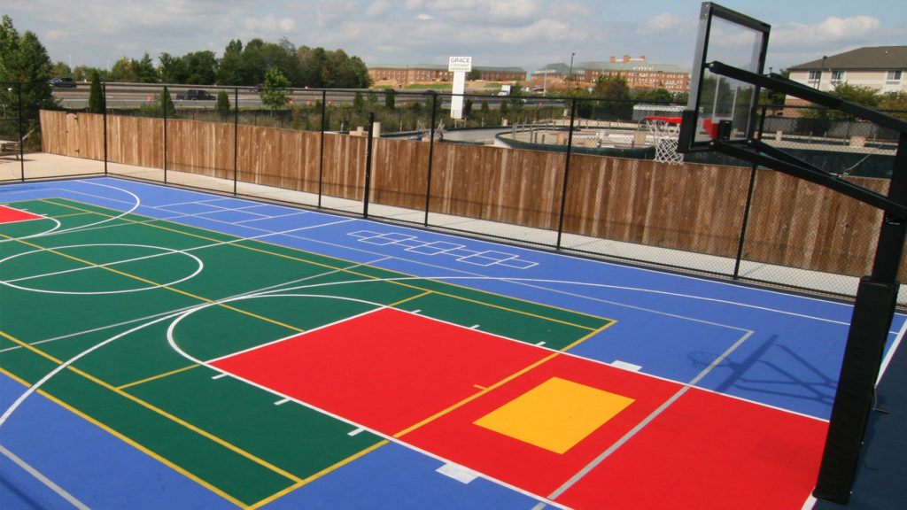 Multi Sports Court Floor Tiles installed on a public basketball court
